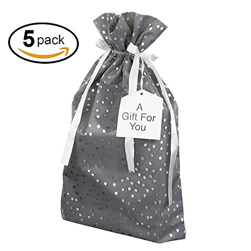 Collection Oversized Tote (Large Premium Fabric Gift Bags Organza with lining and Ribbon Holiday Christmas - Grey Polka Dot Print - 18.5