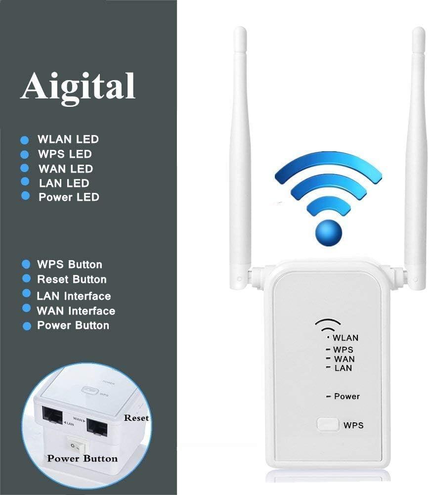 300Mbit//s WLAN Repeater Verstaerker Range Extender Wi-Fi Signal-verst/ärker Wireless Access Point 2.4GHz mit WPS Funktion Willigt IEEE802.11n//g//b Aigital WLAN Router