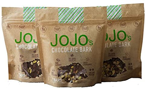 JOJO's- Dark Chocolate Bark With All Natural Protein Raw Nuts and Fruit, NON-GMO, Gluten Free, Paleo Friendly, 1.2 Ounce Bars, 21 Count(Three Week Supply- 25 - Cocoa Extra Dark Chocolate
