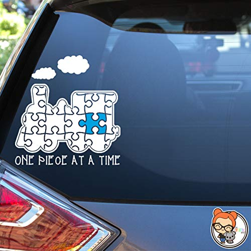 One Piece At A Time Autism Awareness Puzzle Piece Vinyl Die Cut Decal Sticker for Car, Laptop, etc.