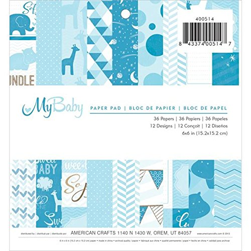 American Crafts 36 Sheets Imaginisce My Baby Paper Pad, 6 by 6-Inch, Boy