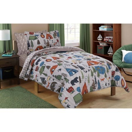 Dovedote Reversible Comforter and Matching Sheet Set for All Seasons (Twin, Camping) by Dovedote