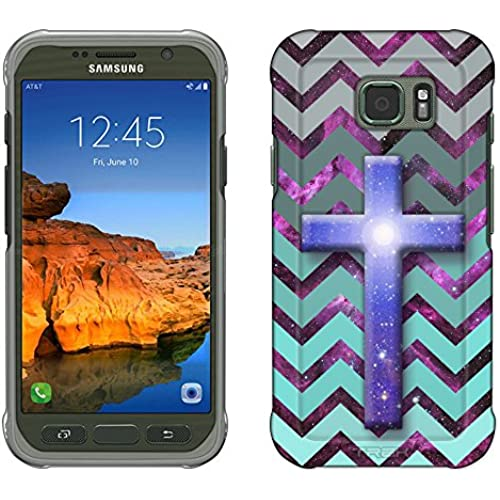 Samsung Galaxy S7 Active Case, Snap On Cover by Trek Cross on Chevron Grey Green Turquoise on Nebula Slim Case Sales