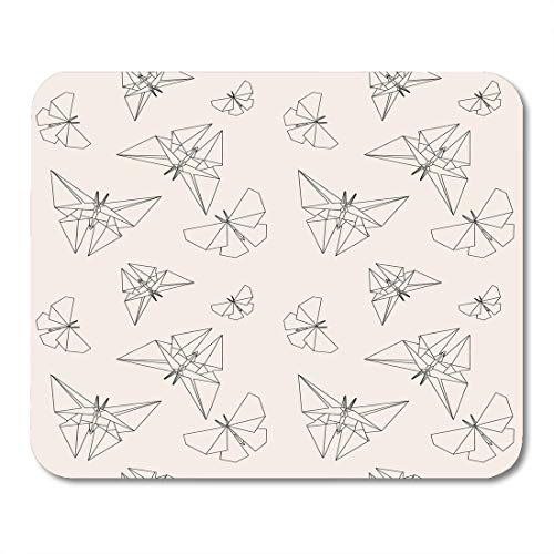 Nakamela Mouse Pads Japan Geometric Thin Line Butterfly Origami Style Japanese Tradition Modern Graphic Mouse mats 9.5