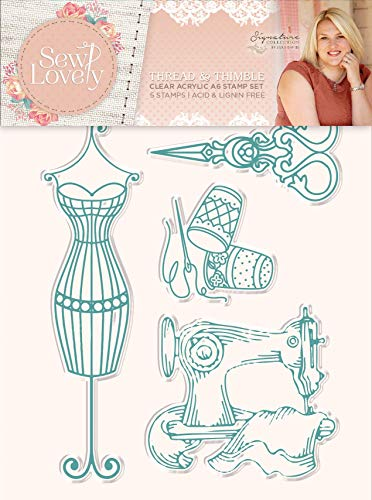 Sara Signature Collection S-SL-ST-TNT Sara Signature-Sew Lovely Thread and Thimble Clear Acrylic Stamp, us:one Size,