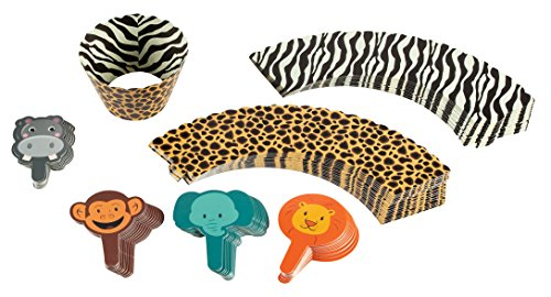 Animal Cupcake Toppers and Liners - 100-Piece Zoo Safari Cupcake Wrappers Baking Supplies, Kids Birthday Party Favors for Cake and Muffin Decorations, Hippo, Monkey, Elephant, Lion ()