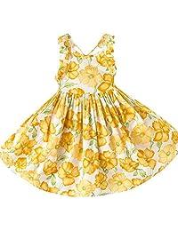 Sumen Toddler Baby Girl Kids Sleeveless Backless Dress Strap Floral Clothes Sundress