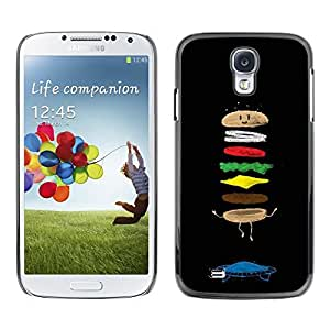 FECELL CITY // Duro Aluminio Pegatina PC Caso decorativo Funda Carcasa de Protección para Samsung Galaxy S4 I9500 // Food Cartoon Funny Black Chef