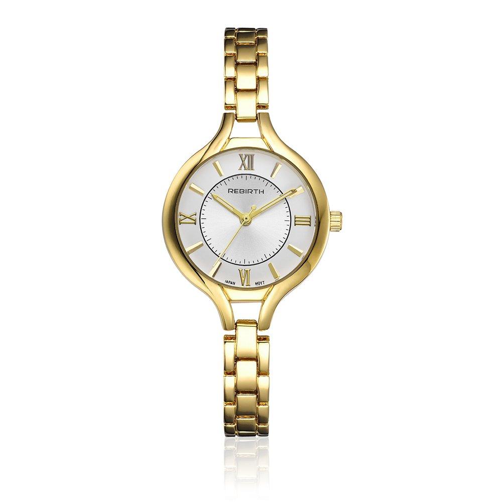 Rebirthレディースクラシックステンレススチールクォーツ腕時計 B06Y5M9MTS