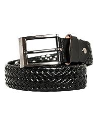 Landes Mens Solid Black Woven Belt 38