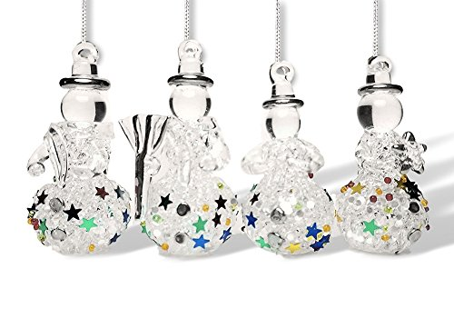 of 4 Assorted Styles of Hanging Spun Glass Glittered Snowmen - Snowmen Decorations - Glass Christmas Ornaments ()
