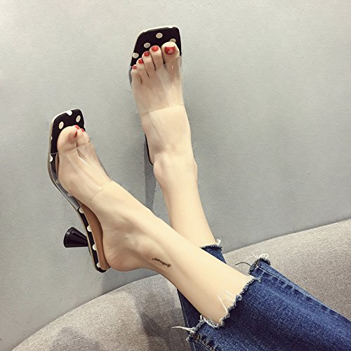with High Transparent Ladies' Nero Summer Slippers Casual Heeled IANGL Shoes ZYxOBwB