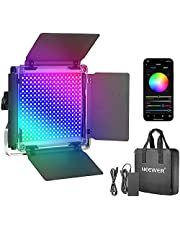 Neewer 660 RGB Led Light with APP Control, 660 SMD LEDs CRI95/3200K-5600K/Brightness 0-100%/0-360 Adjustable Colors/9 Applicable Scenes with LCD Screen/U Bracket/Barndoor, Metal Shell for Photography