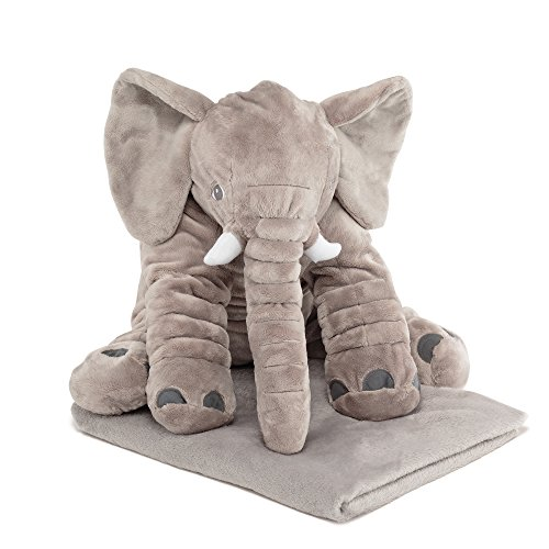 Naturally Nature Stuffed Plush Elephant Pillow - 24 inches, Grey with Blanket Baby Pillow
