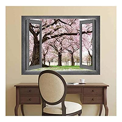 Open Window Creative Wall Decor View onto a Beautiful Cherry Blossom Garden Wall Mural, Created Just For You, Gorgeous Technique