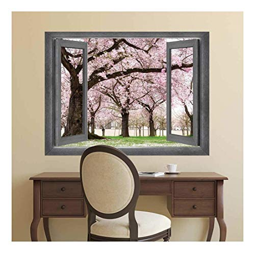 Open Window Creative Wall Decor View onto a Beautiful Cherry Blossom Garden Wall Mural