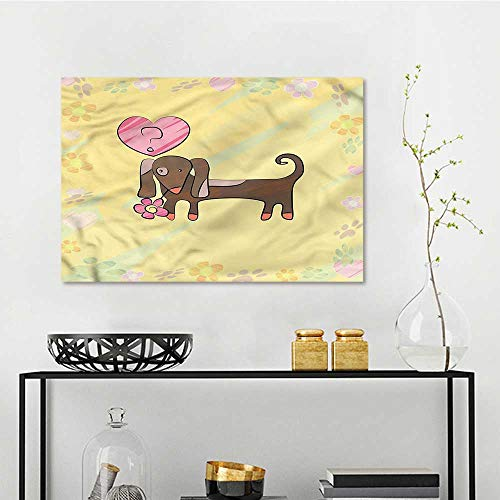 one1love Dachshund Printing Oil Painting Colorful Dog Design Modern Decorative Artwork W35 xL23 -