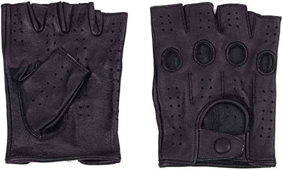 Genuine Leather Half Finger Driving Gloves Crochet Back Chauffeur Motorbike