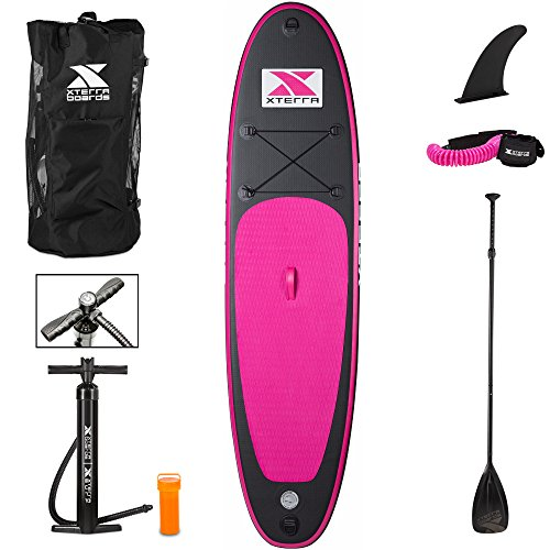 XTERRA-Inflatable-Stand-Up-Paddle-Board-with-Adjustable-Paddle-Roller-Backpack-and-Coil-Leash