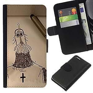 Be-Star la tarjeta de Crédito Slots PU Funda de cuero Monedero caso cubierta de piel Para Apple Iphone 5C ( Knight Cross Christianity Crusade Art Drawing Pencil )