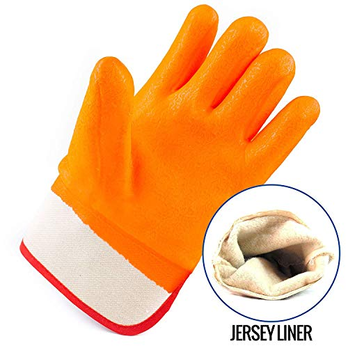 Troy Safety Heavy Duty Premium Sandy finished PVC Coated-Supported Glove with Safety Cuff, Chemical Resistant, Large, Fluorescent Orange (3 Pairs) by Troy Safety (Image #3)