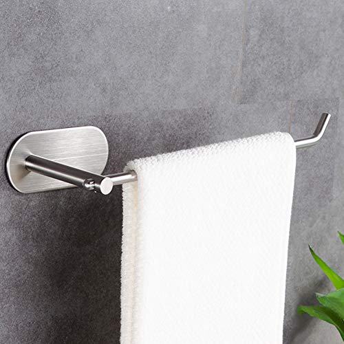 YIGII Self Adhesive Towel Bar - Towel Holder Bath Hand Towel Ring Open Style Stick on Wall Bathroom Kitchen Stainless Steel Brushed