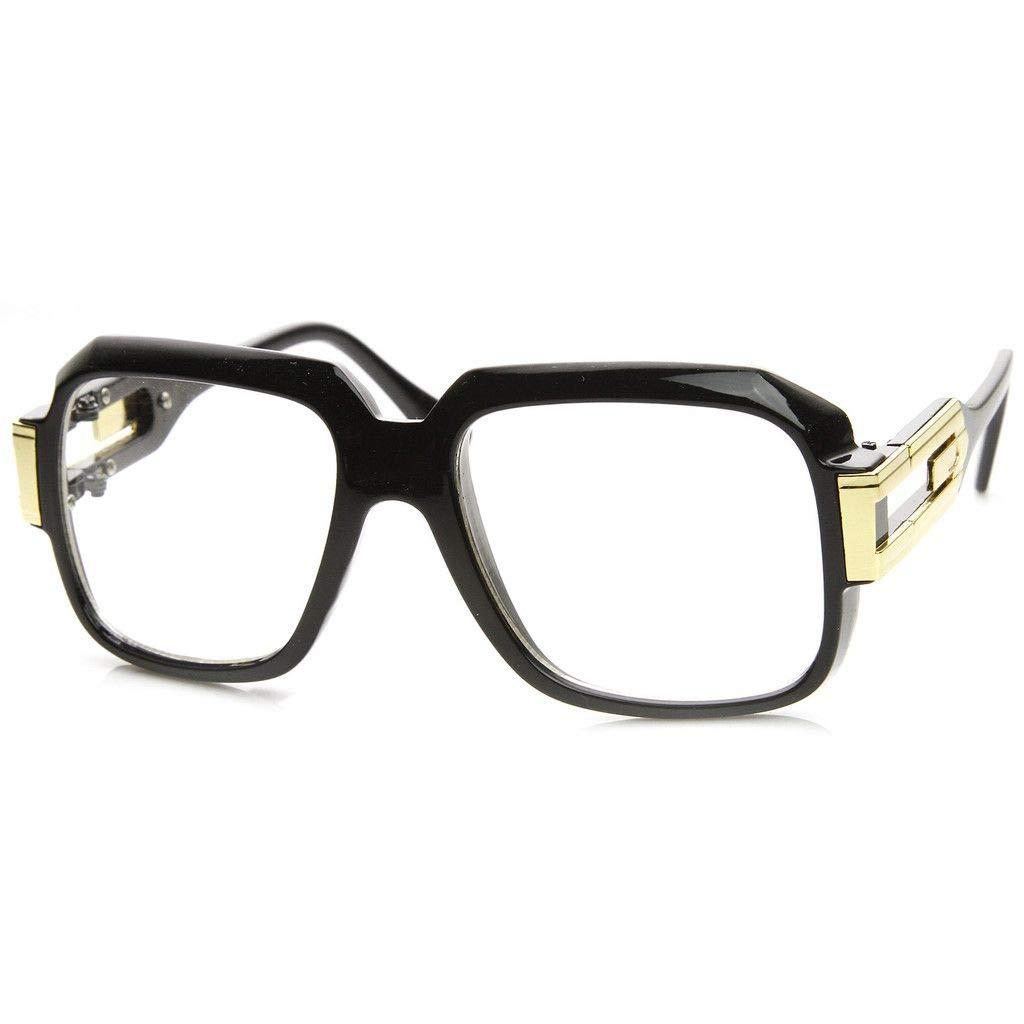 Oversized Rectangular Hip Hop Nerdy Black and Gold Clear Lens Glasses