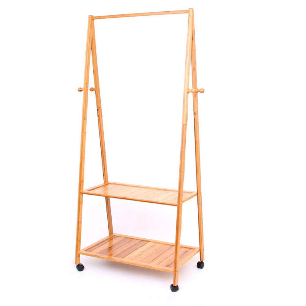 7045165cm Coat Rack Landing Simple and Modern Bamboo Bedroom Mobile Hanger Simple and Versatile Hanging Clothes Rack (Size   70  45  165cm)