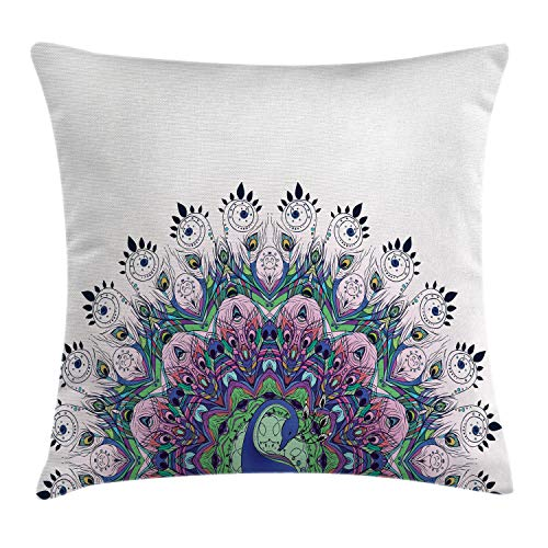 """Ambesonne Peacock Throw Pillow Cushion Cover, Peacock Illustration Exotic Wildlife Feather Ornament Vintage Oriental, Decorative Square Accent Pillow Case, 16"""" X 16"""", Pink Navy"""
