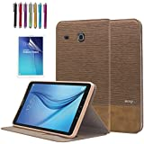 Mignova Galaxy Tab E 8.0 Folio Case,Premium Leather Case Cover for Samsung Galaxy Tab E 8.0(Sprint/US Cellular) SM-T377/SM-378 4G LTE 8-Inch Tablet+Screen Protector Film and Stylus Pen (2nd Brown)