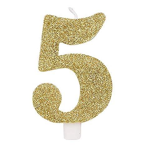 Candela Numero 5 Oro Glitter Numerale H 95cm Candelina Per