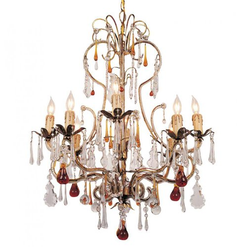 Crystorama Lighting 4708-GL Chandelier with Murano Crystal Crystals, Gold Leaf