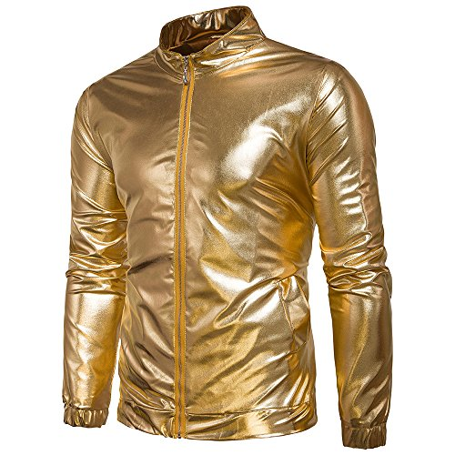 WEEN CHARM Men's Metallic Jacket Nightclub Shinny Zip up Varsity Baseball Bomber Jacket by WEEN CHARM