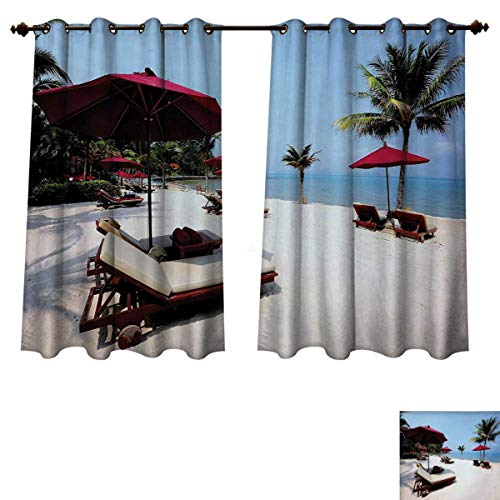 RuppertTextile Seaside Blackout Thermal Backed Curtains for Living Room Beach Chair Umbrella Palm Trees Vacation Resort Sand Summer Sky Customized Curtains Maroon Pale Blue and Ivory W63 x L63 inch