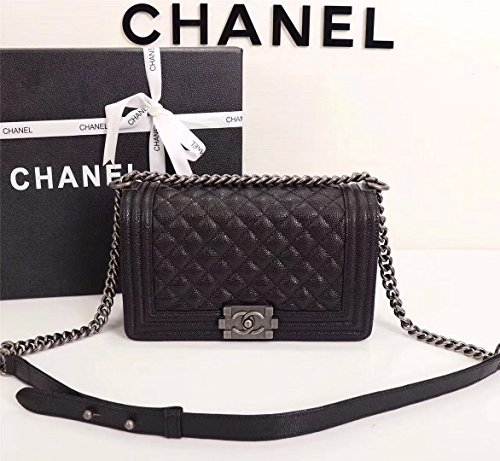 Simple-Chanel Women's Rhombus Chain Inclined Shoulder Bag (silvery) - Chanel Real Leather