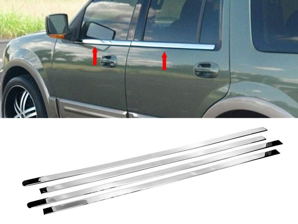 Works with 2003-2015 Ford Expedition W//Keypad 4PC Stainless Steel Chrome Window Sill Trim Overlay Made in USA
