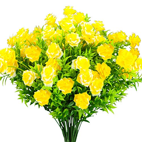 E-HAND Rose Artificial Flowers Yellow Outdoor UV Resistant Yellow Plants Fake Greenery ()