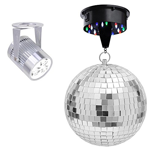 Yescom 12'' Mirror Disco Ball & Rotating Motor & 3W White LED Spotlight Kit Home Party Club Lighting by Yescom