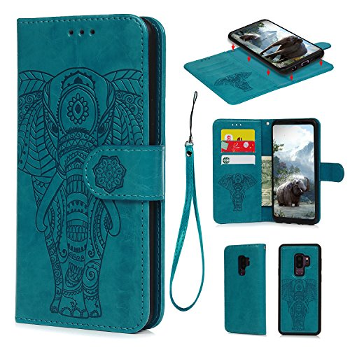 Galaxy S9 Plus Case, S9 Plus Wallet Case PU Leather Embossed Elephant Detachable Magnetic Wallet Flip Protective Cover with Card Slots Wrist Strap Skin for Samsung Galaxy S9 Plus, Blue ()