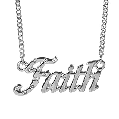 2842d6aba6bec Zacria Name Necklace Faith - 18K White Gold Plated