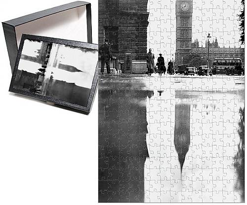 252 Piece Puzzle of Big Ben Reflected On Rain Drenched Parliament Square In London (10149346)
