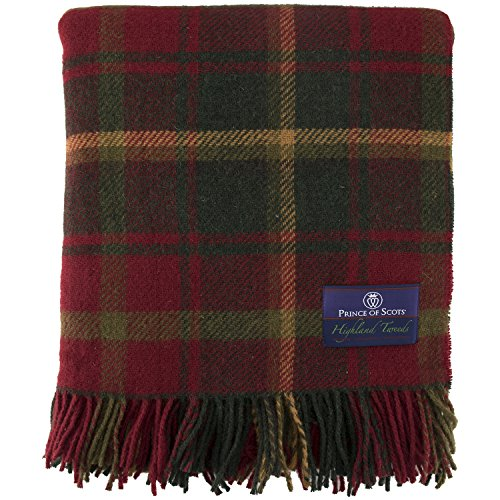 Prince of Scots Highland Tartan Tweed 100% Pure New Wool Throw ~ Dark Maple ~ (Blankets Wool Plaid)