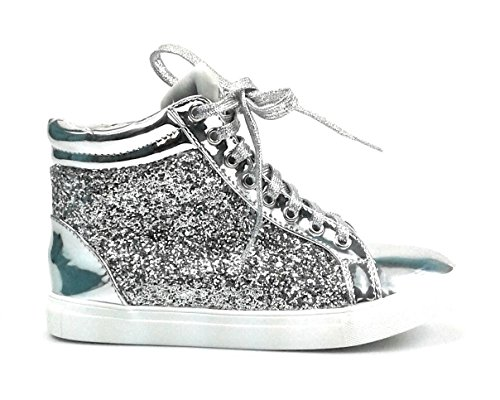Forever Link Womens Glitter Fashion Sneakers (9, Silver Regan-14)