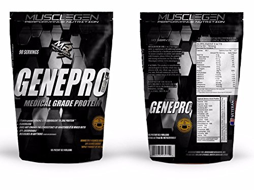 Medical Grade Protein, GENEPRO by Musclegen Research - Premium Protein for Absorption, Muscle Growth & Bariatric. Organic, Non GMO, Gluten Free, No Sugar, Flavorless and Mixes with any Drink. by Musclegen Research
