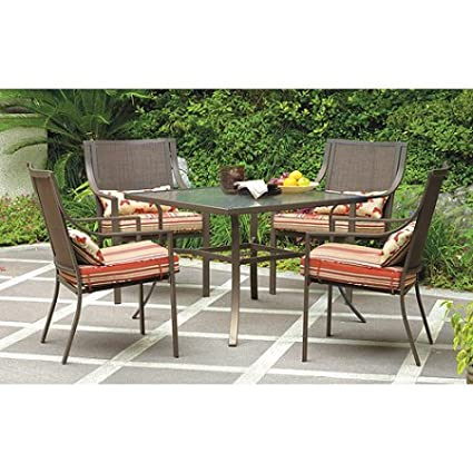 Amazon Com Mainstays 5 Piece Patio Dining Set Seats 4 In Red