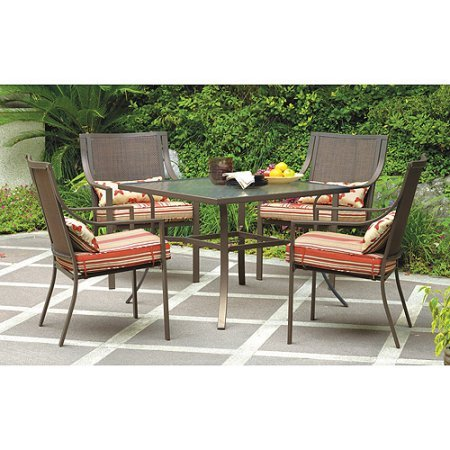 Mainstays* 5-Piece Patio Dining Set, Seats 4 in Red Stripe with Butterflies (Oasis 5 Piece)