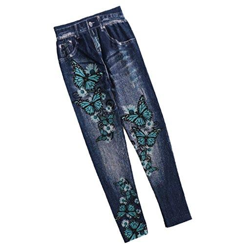 Elastic Printed Elástica Azul Pants Baoblaze Black Jeggings High Polainas Impresas Mariposa Sports qwxxaXC8f