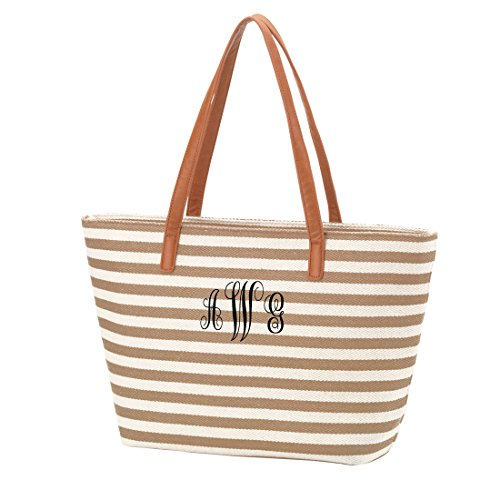 Personalized Name Or Monogram Stripe Tote Bag Purse (Embroidered Monogram, Khaki)