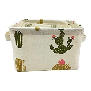 Mziart Cute Small Storage Basket with Handle, Foldable Cotton Fabric Storage Organizer Box for Nursery Kids Babies Room Shelves & Desks (Multi-Colored Cactus)