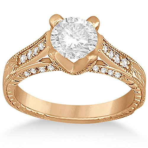 Diamond Antique Engagement Ring Setting (Antique Style Diamond Engagement Ring Setting 18k Rose Gold (0.40ct))